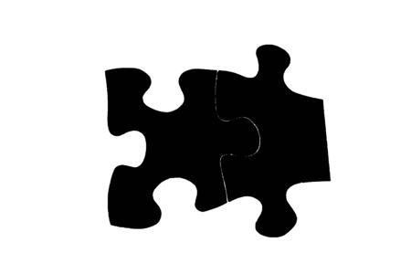 흰색에 검은 퍼즐 조각 스톡 콘텐츠