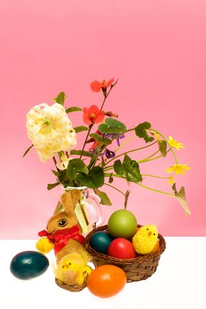 Easter card with colored eggs and flowers. Stock Photo - 6720496