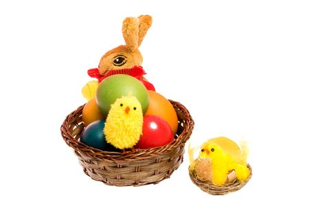 Easter Card with colored eggs, bunny and chickens. Stock Photo - 6720504