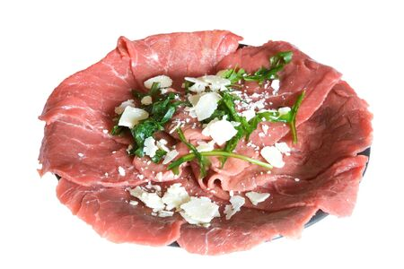 Food & Drinks - Fresh meet for carpaccio (garnished with parmesan and rocket).