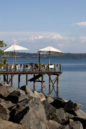 Travel Series - Italy. Terrace on the lake Bracciano Lake, Lazio, Italy.