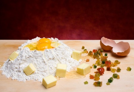 Flour, Eggs, Butter And Candied Fruits - Food & Drinks - Ingredients for