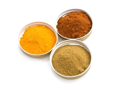 Food & Drinks - Spices: turmeric, cumin and sweet paprika. Stock Photo - 7018828