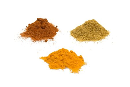 Food & Drinks - Spices - Cumin, turmeric and sweet paprika isolated on white background. Stock Photo - 7018815