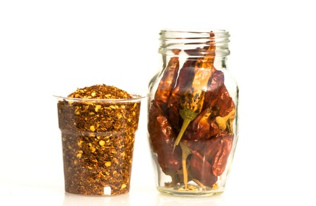 Food & Drinks - Spices - Dried hot chili peppers. Stock Photo - 7018811