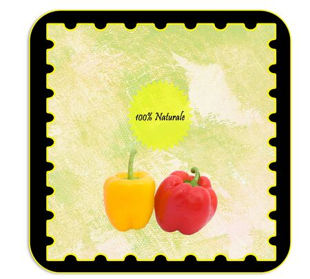 alimentary: Labels - Label for alimentary products - peppers. Italian language.
