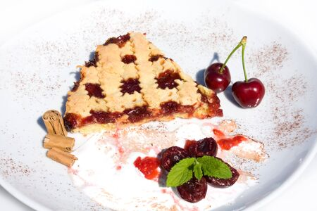 Food & Drinks - Slice of tart with sour cherry jam. Stock Photo - 7075765