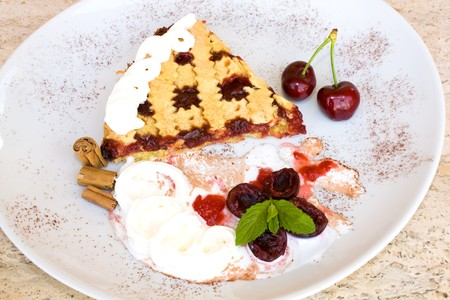 Food & Drinks - Slice of tart with sour cherry jam. Stock Photo - 7075772