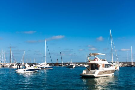 Boats anchored in the small port of Marciana, Elba Island, Italy.