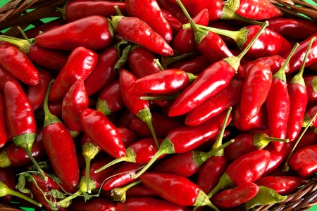 Food - Vegetables - Background of red chili peppers. Stock Photo - 7965061