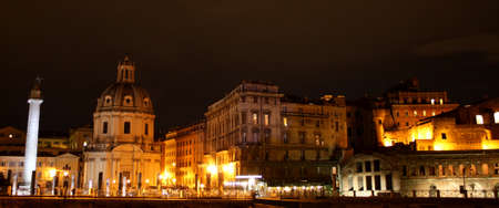 Night photo of Imperial Forums, Rome, Italy.