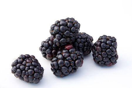 Fruits - Blackberries isolated on white background. Stock Photo