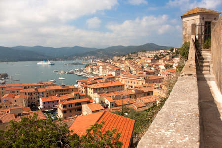 View above  Portoferraio roofs and harbor from Forte Stella, Elba Island, Italy.