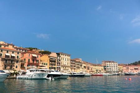 Boats and buildings in Portoferraio, Elba Island, Italy.