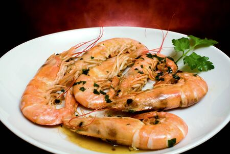 Food Recipes - Seconds - Prawns with garlic on white plate - studio isolated. Stock Photo - 8131131