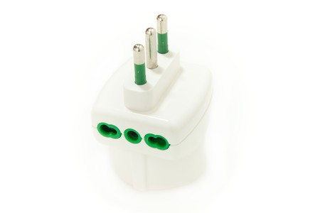 home related: Home Related - Triple plug isolated on white background.