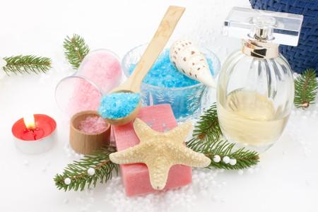 christmas perfume: Bodycare productsWinter spa concept  - Bath salts, grapes soap and perfume - Christmas setting.