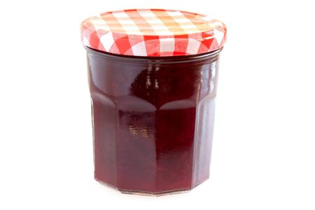 Food - Canned food - Jar with cherry jam isolated on white background. Stock Photo - 8627290