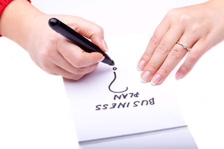Concepts - Woman hands with black marker writing on a notebook. Stock Photo - 8627315