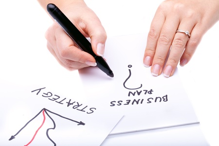 Concepts - Woman hands with black marker writing on a notebook. Stock Photo - 8627302