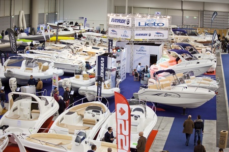 dinghies: Rome, Italy, February 19, 2011: Big Blue Rome Sea Expo - Boat Show After the first 4 editions success with over 140,000 visitors, the Boat Show returns to Rome to please sea-going fans. In this picture a part of the Hall Of Dinghies offering to the visito