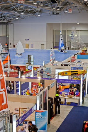 Rome, Italy, February 19, 2011: Big Blue Rome Sea Expo - Boat Show After the first 4 editions success with over 140,000 visitors, the Boat Show returns to Rome to please sea-going fans. In this picture different stands presenting a big variety of accessor