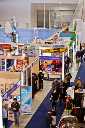 Rome, Italy, February 19, 2011: Big Blue Rome Sea Expo - Boat Show After the first 4 editions success with over 140,000 visitors, the Boat Show returns to Rome to please sea-going fans. In this picture different stands presenting a big variety of accessor Editorial