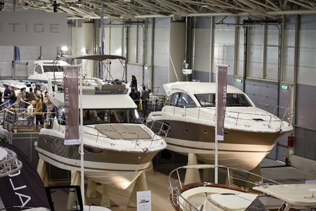 Rome, Italy, February 19, 2011: Big Blue Rome Sea Expo - Boat Show. Two boats from the French producer Jeanneau : the new Prestige Flybridge 400 and the new Sportop 440 S.