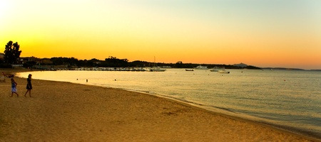 Travel Italy - Cannigione beach at sunset, Sardinia.