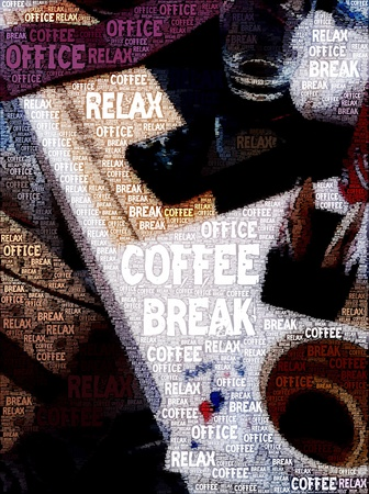 Original poster design  - Long hours at work - Coffee break. Stock Photo - 9871262