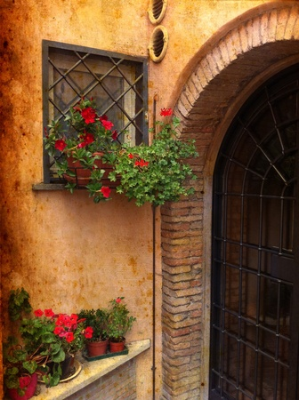 Vintage image from Rome - Detail of wall decorated with red Geraniums - Trastevere, Rome, Italy. Stok Fotoğraf