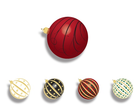 Set of 5 vectors - Christmas balls with shadow on white background. Stock Vector - 11331997