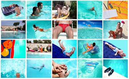 Summer leisure - People in the swimmingpool. photo