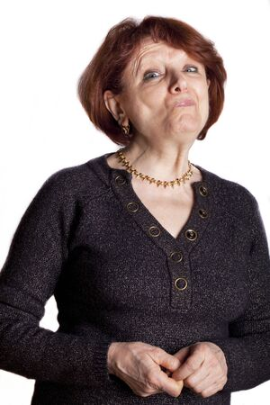 Portrait of senior caucasian lady with funny grimace on her face. Stock Photo - 11859066