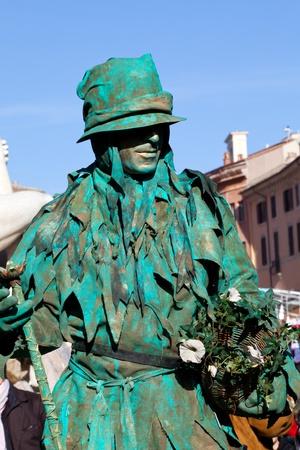 Italian Masks - Green iving statue  Stock Photo - 12567094