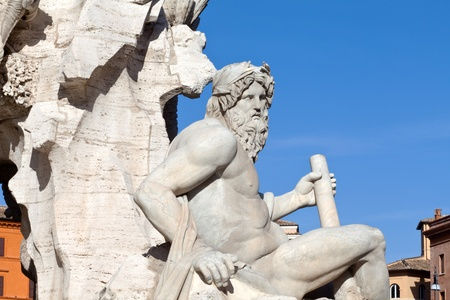 Zeus statue made by Bernini, The Four Rivers Fountain, Navona Square, Rome, Italy
