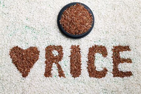 Label for rice - The word rice written in red rice on white rice background  photo