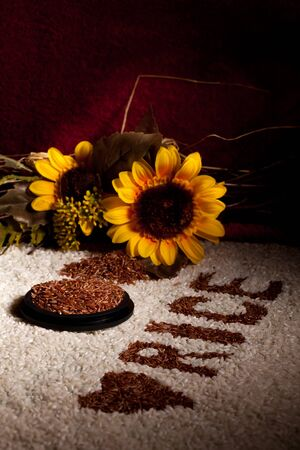Still life with rice and sunflowers  photo