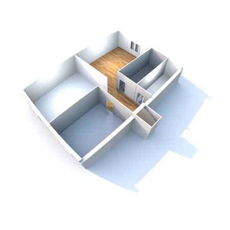 Architecture - Conceptual, work in progress - House plan in 3D isolated on white background Stock Photo