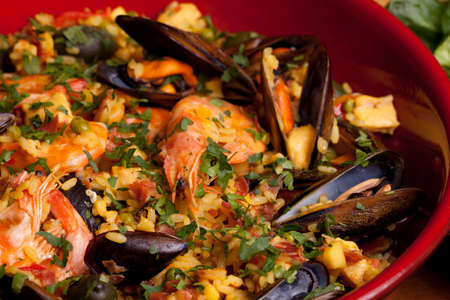 Spanish paella, traditional recipe from Valencia.