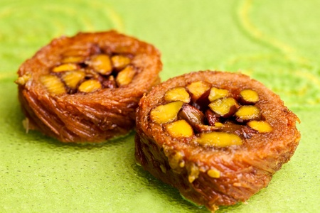 fillo: Burma Baklava made with shredded fillo dough wrappedaround a mountain of Turkish pistachios