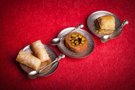 baklawa: Assortment of baklava, traditional ottoman dessert, very popular during the Ramadan days  Stock Photo