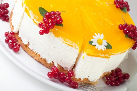 Closeup of condensed milk cake decorated with apples jelly, mint leaves, daisy and redcurrants