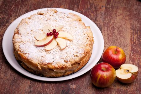 International Cuisine - Desserts - Cake with ricotta cheese and sour apples. photo