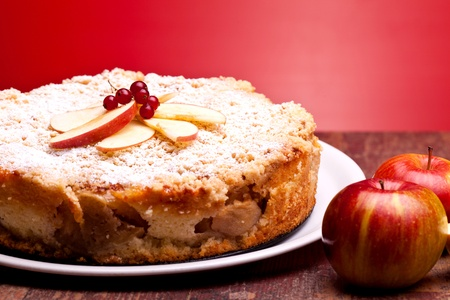 International Cuisine - Desserts - Closeup of cheesecake with sour apples. Stock Photo - 13189642