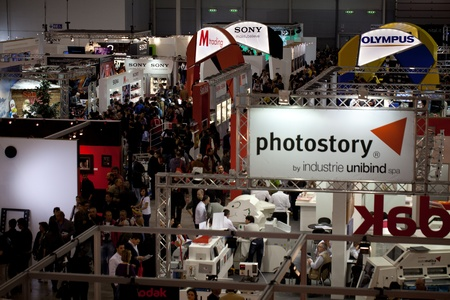 ROME, ITALY APRIL 1st: Video of people visiting stands at Photoshow, international photo and digital imaging exhibition on April 1st 2012 in Rome, Italy. Photoshow had this year an influx of 65,000 visitors in just four days.