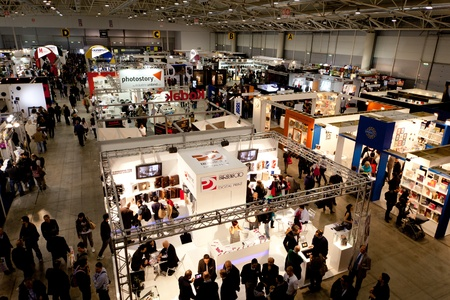 ROME, ITALY APRIL 1st: Video of people visiting stands at Photoshow, international photo and digital imaging exhibition on April 1st 2012 in Rome, Italy. Photoshow had this year an influx of 65,000 visitors in just four days. Editorial