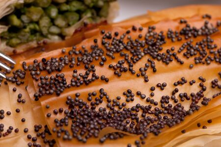 fillo: Closeup of crust with poppy seeds on top of asparagus rolls. Stock Photo