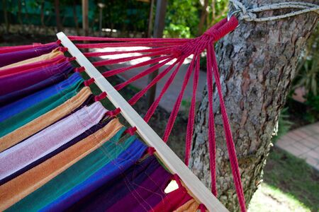 Concept of summer relax - Closeup of colorful hammock  Stock Photo - 13585842
