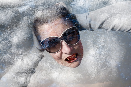 photomanipulation: Photomanipulation representing a vampire trapped behind an ice wall. Stock Photo